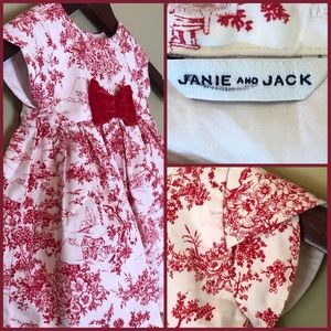 Janie and Jack Red & White Toile Dress w/ Bloomers